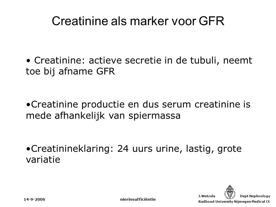 Creatinine als marker voor GFR