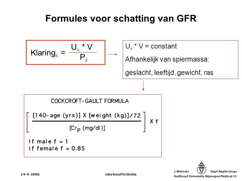 Formules voor schatting van GFR