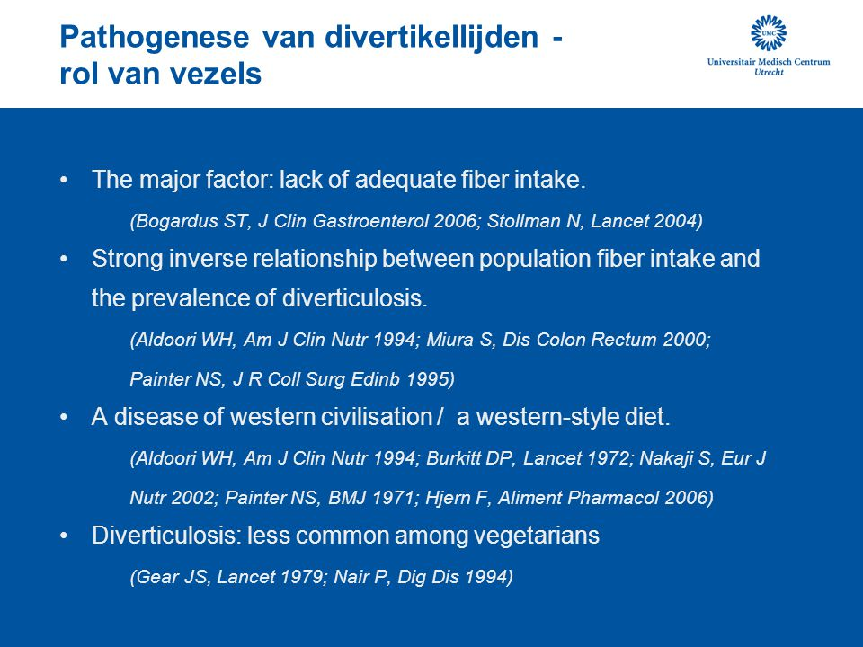 Pathogenese van divertikellijden - rol van vezels