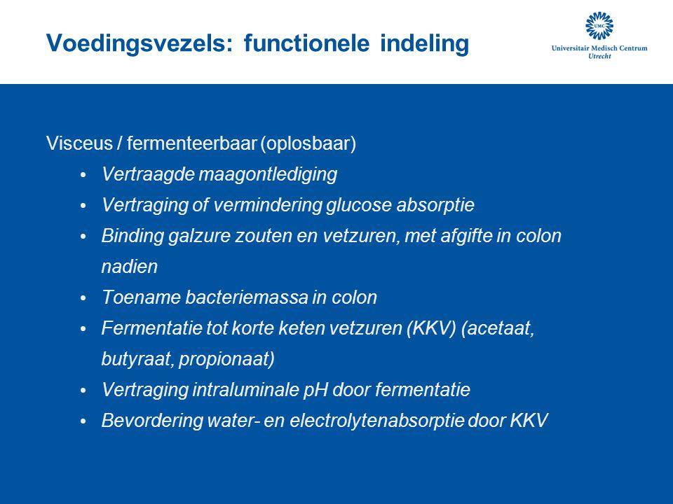 Voedingsvezels: functionele indeling