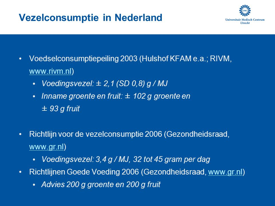 Vezelconsumptie in Nederland