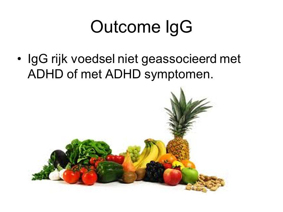 Outcome IgG IgG rijk voedsel niet geassocieerd met ADHD of met ADHD symptomen.