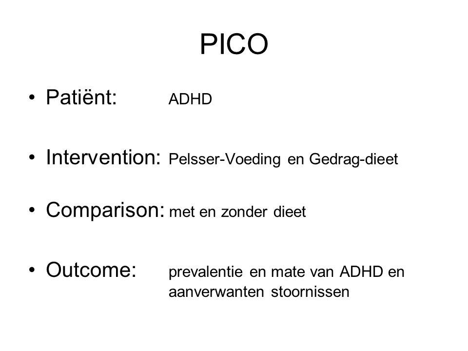 PICO Patiënt: ADHD Intervention: Pelsser-Voeding en Gedrag-dieet