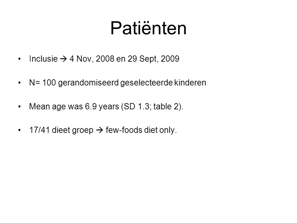 Patiënten Inclusie  4 Nov, 2008 en 29 Sept, 2009