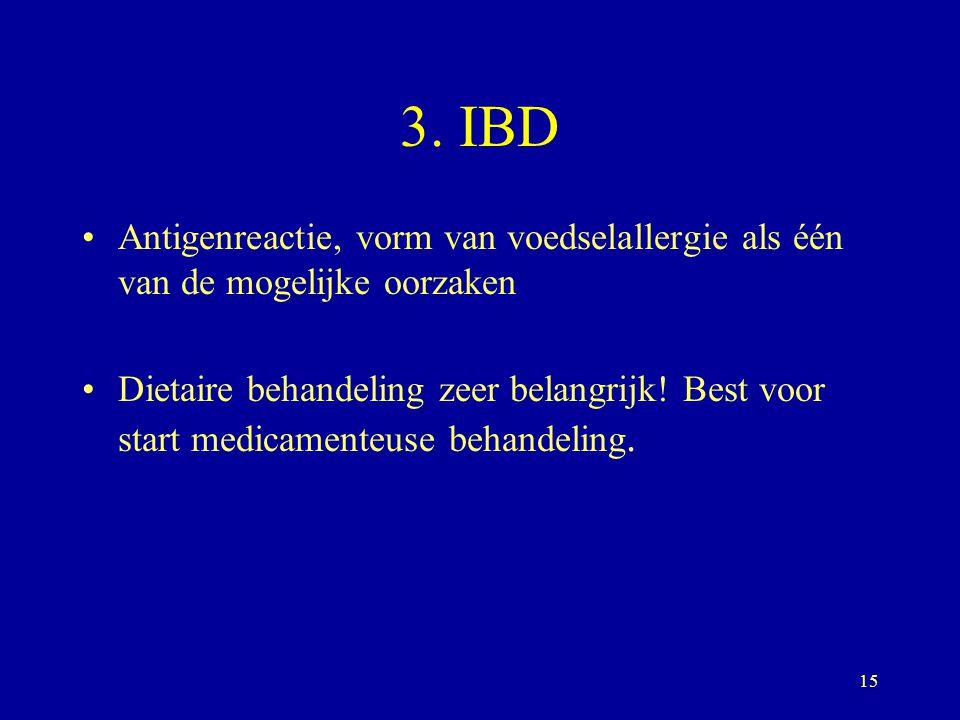 3. IBD Antigenreactie, vorm van voedselallergie als één van de mogelijke oorzaken.