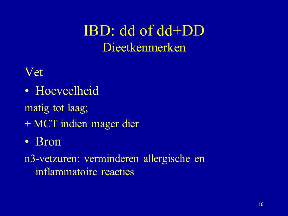 IBD: dd of dd+DD Dieetkenmerken