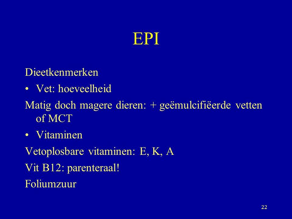 EPI Dieetkenmerken Vet: hoeveelheid