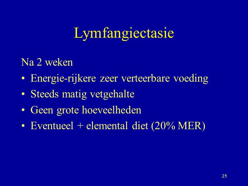 Lymfangiectasie Na 2 weken Energie-rijkere zeer verteerbare voeding