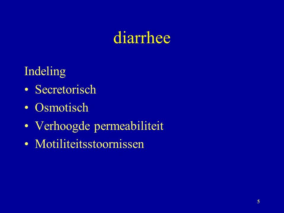 diarrhee Indeling Secretorisch Osmotisch Verhoogde permeabiliteit
