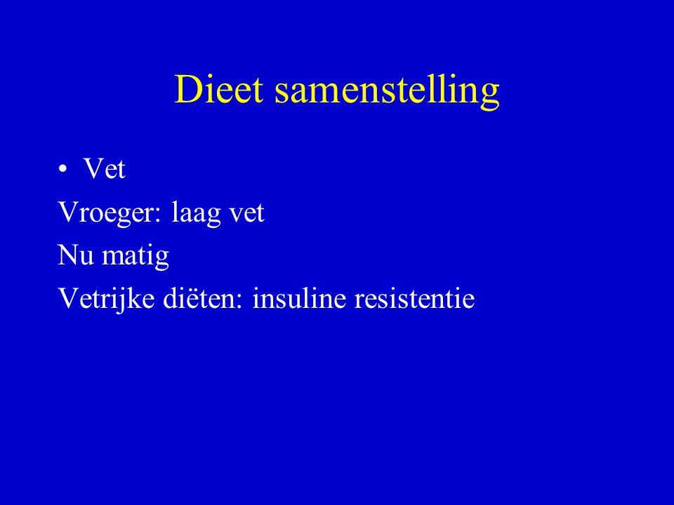 Dieet samenstelling Vet Vroeger: laag vet Nu matig