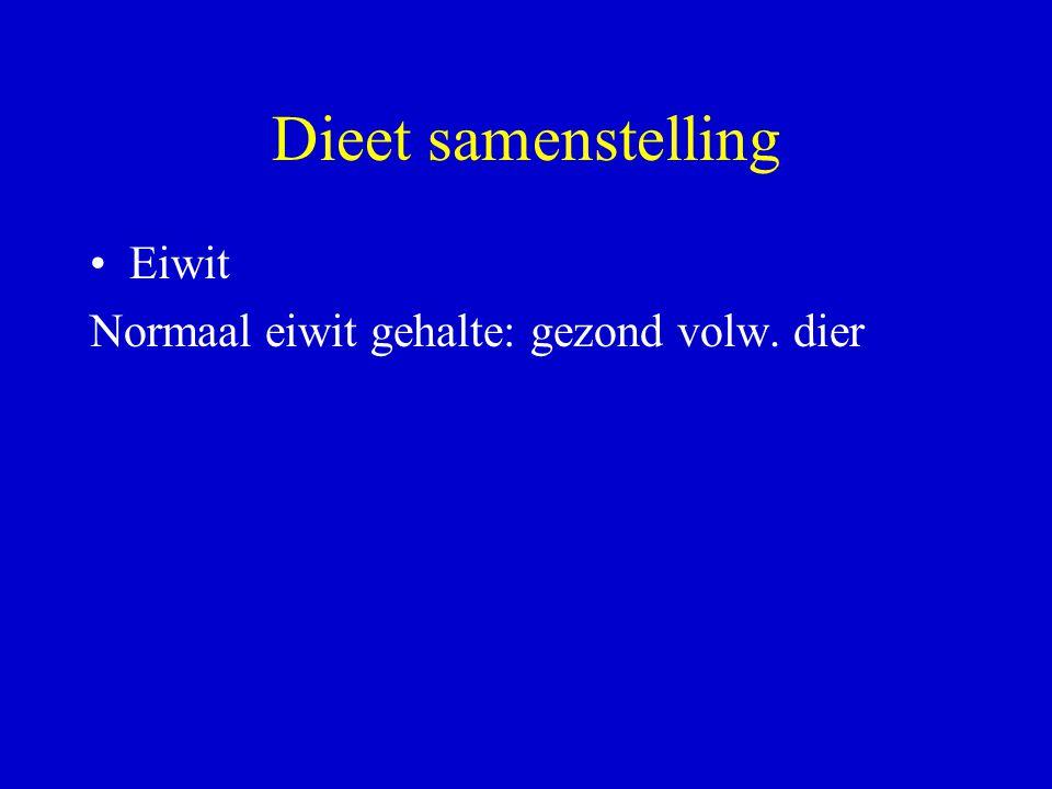 Dieet samenstelling Eiwit Normaal eiwit gehalte: gezond volw. dier