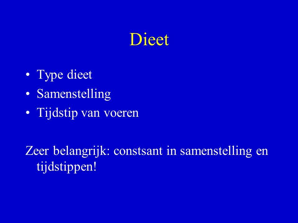 Dieet Type dieet Samenstelling Tijdstip van voeren