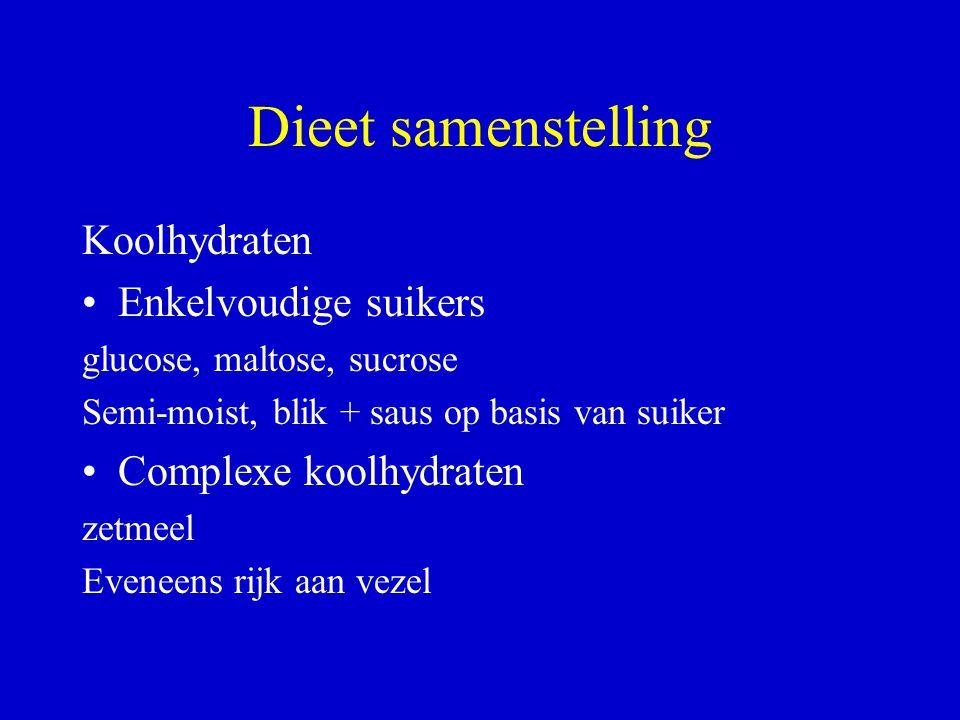 Dieet samenstelling Koolhydraten Enkelvoudige suikers