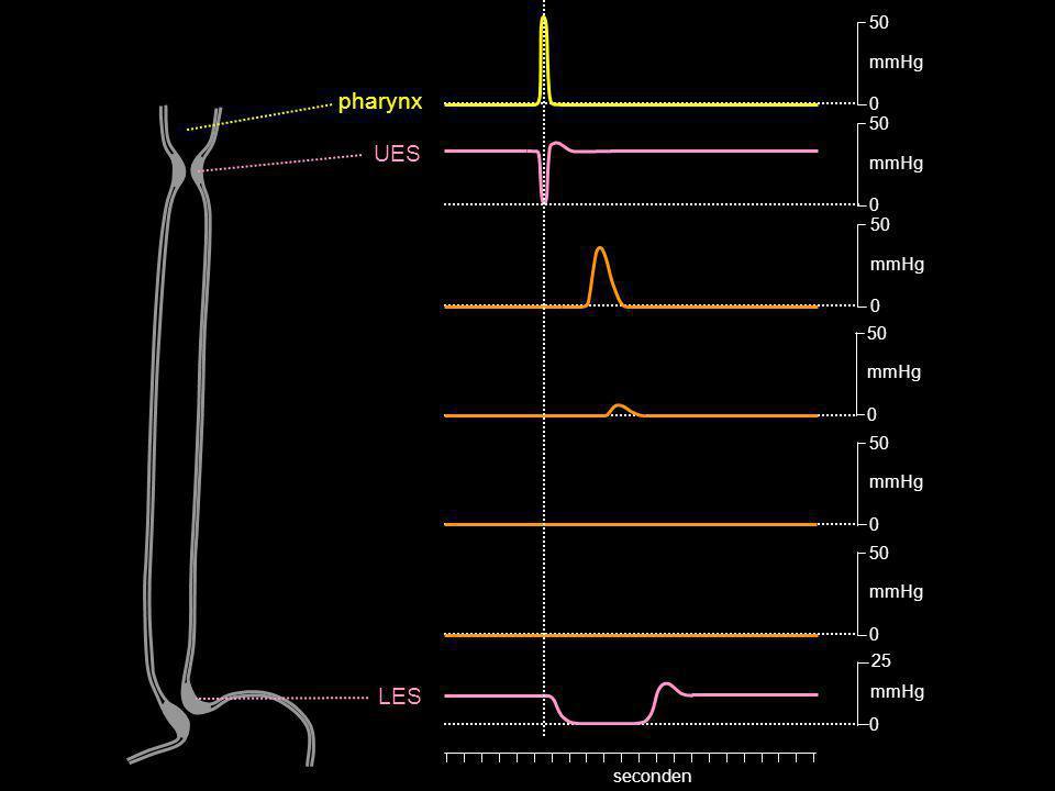 pharynx UES LES 50 mmHg 50 mmHg 50 mmHg 50 mmHg 50 mmHg 25 mmHg