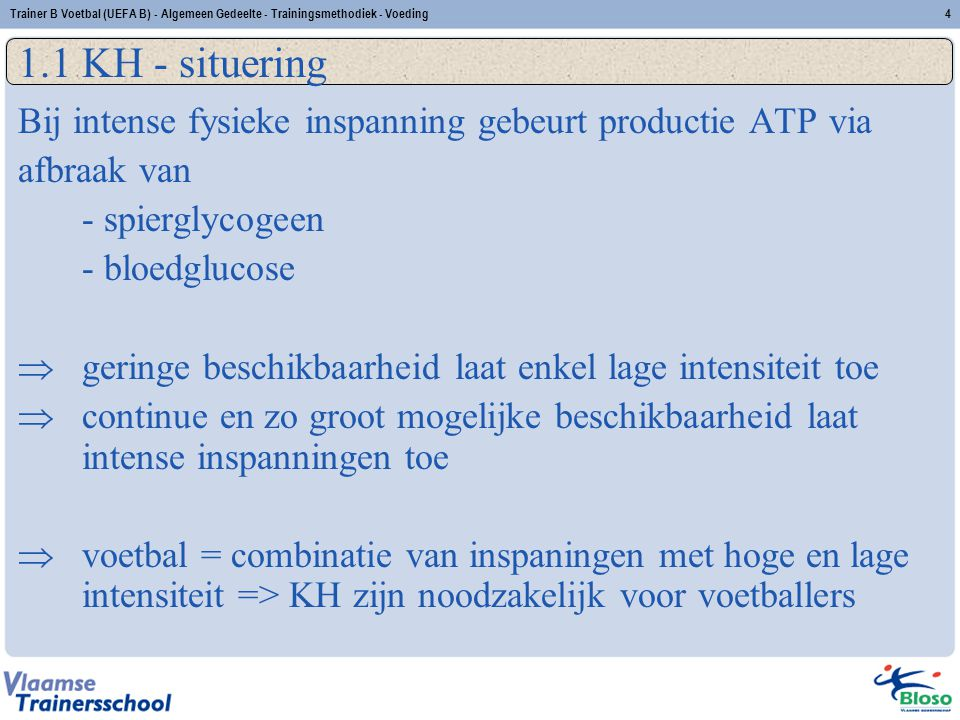 Trainer B Voetbal (UEFA B) - Algemeen Gedeelte - Trainingsmethodiek - Voeding