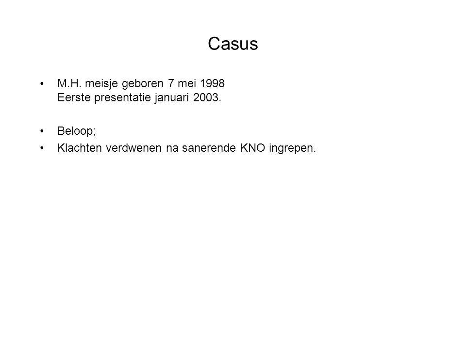 Casus M.H. meisje geboren 7 mei 1998 Eerste presentatie januari 2003.
