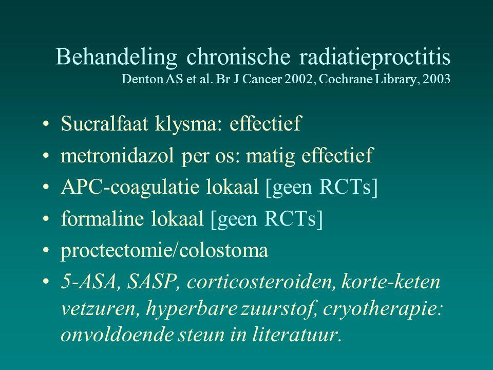 Behandeling chronische radiatieproctitis Denton AS et al