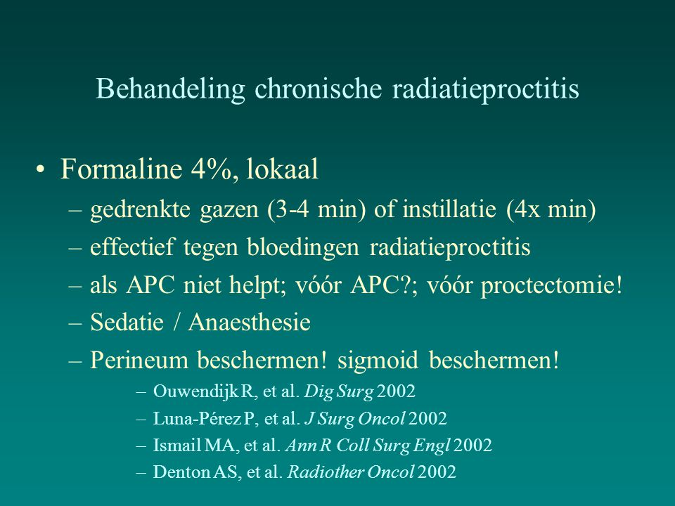 Behandeling chronische radiatieproctitis