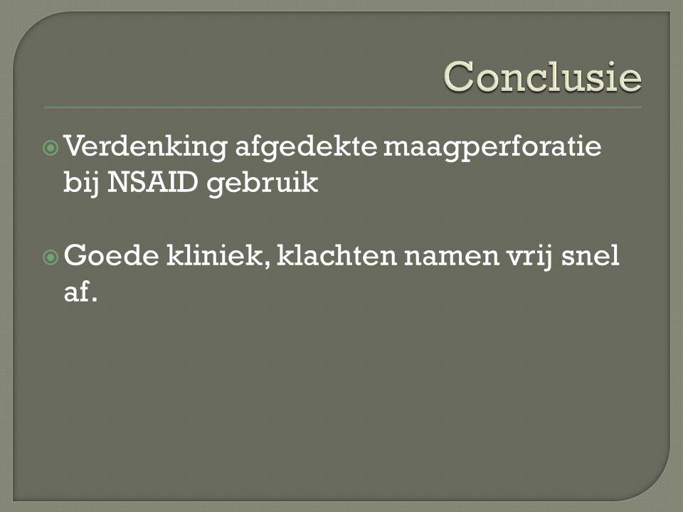 Conclusie Verdenking afgedekte maagperforatie bij NSAID gebruik