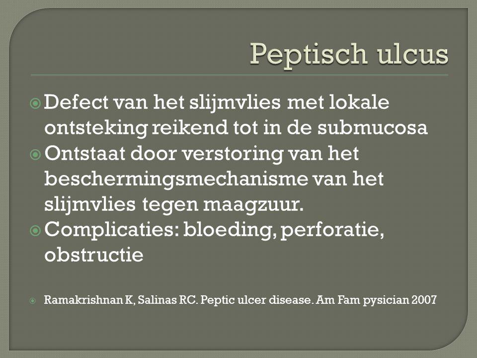 Peptisch ulcus Defect van het slijmvlies met lokale ontsteking reikend tot in de submucosa.