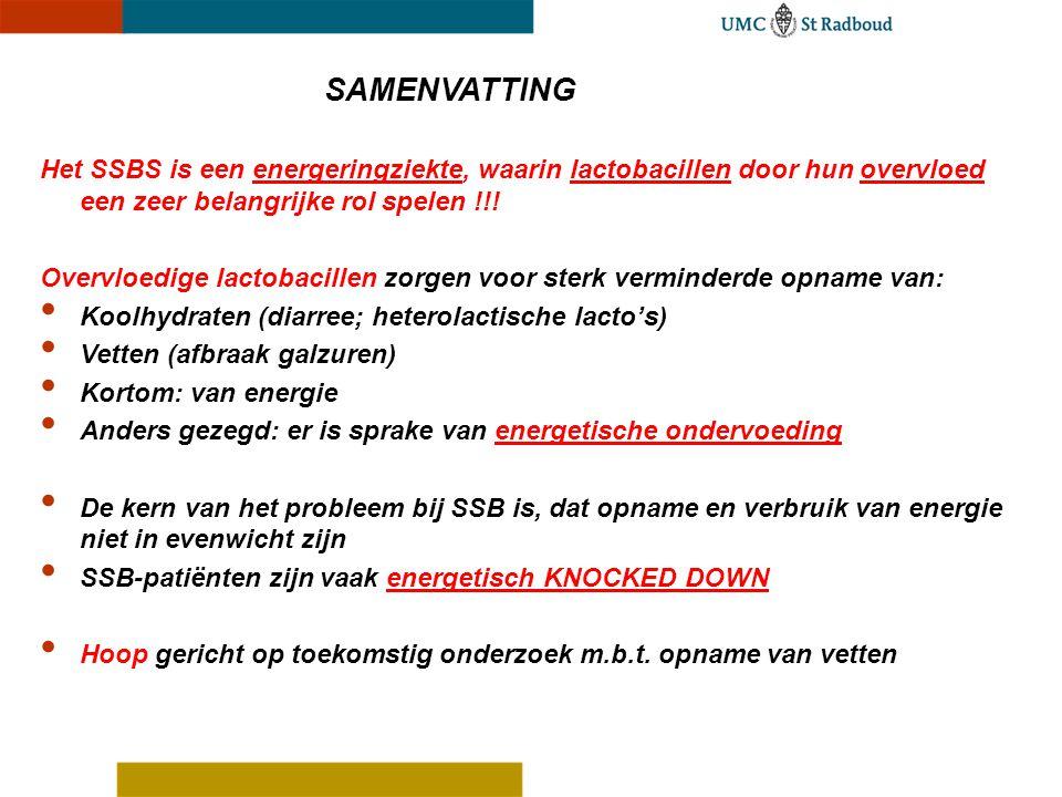 SAMENVATTING Het SSBS is een energeringziekte, waarin lactobacillen door hun overvloed een zeer belangrijke rol spelen !!!