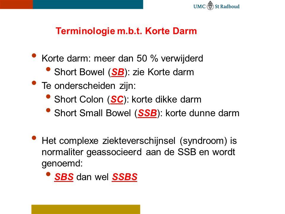 Terminologie m.b.t. Korte Darm