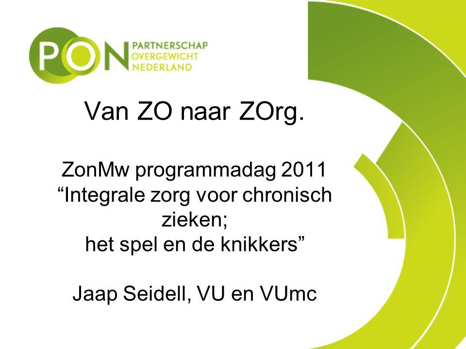 Van ZO naar ZOrg. ZonMw programmadag 2011 Integrale zorg voor chronisch zieken; het spel en de knikkers Jaap Seidell, VU en VUmc
