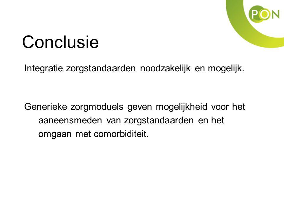 Conclusie Integratie zorgstandaarden noodzakelijk en mogelijk.
