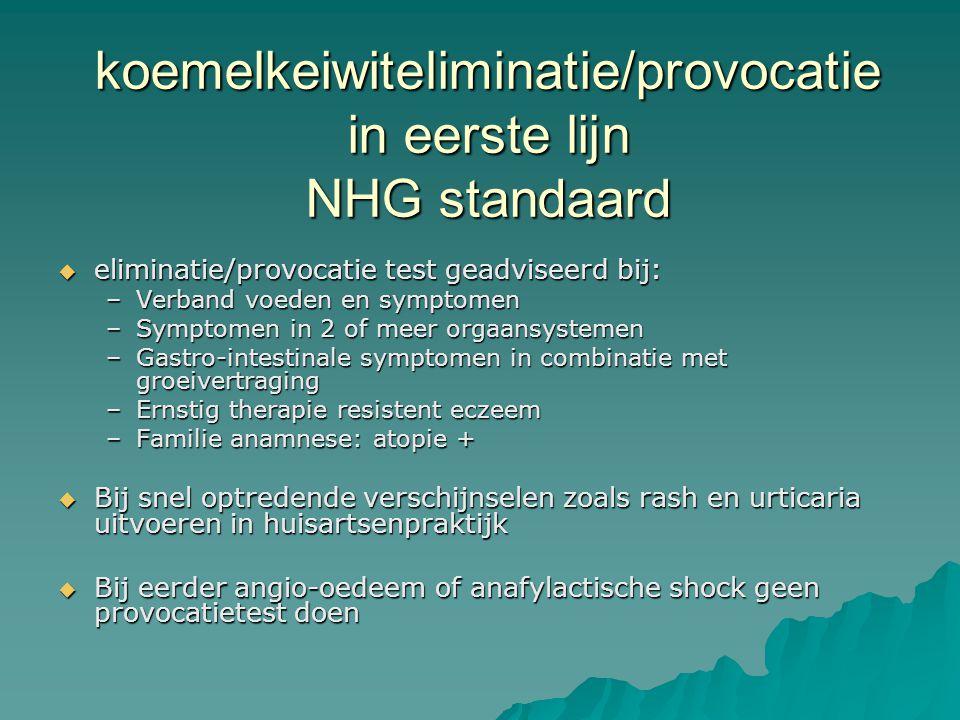 koemelkeiwiteliminatie/provocatie in eerste lijn NHG standaard