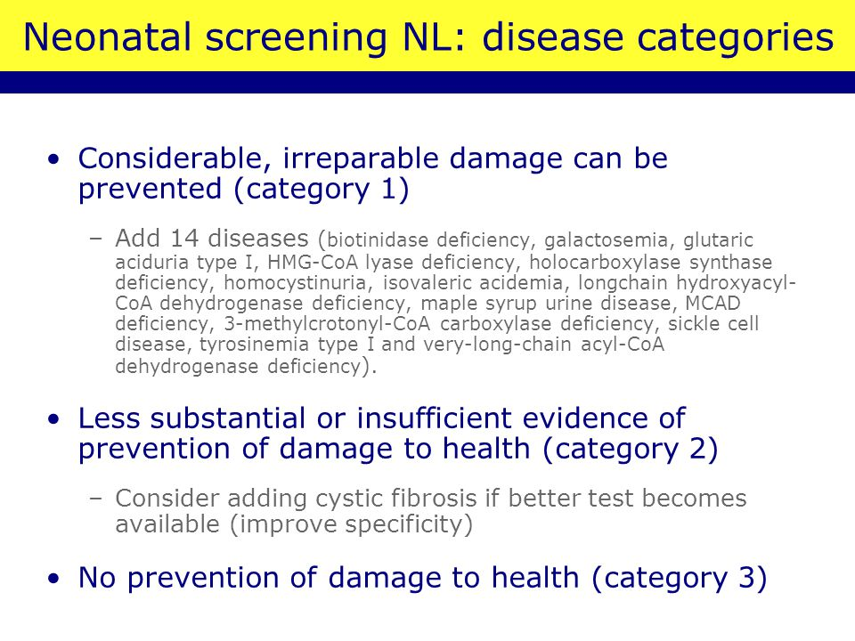 Neonatal screening NL: disease categories