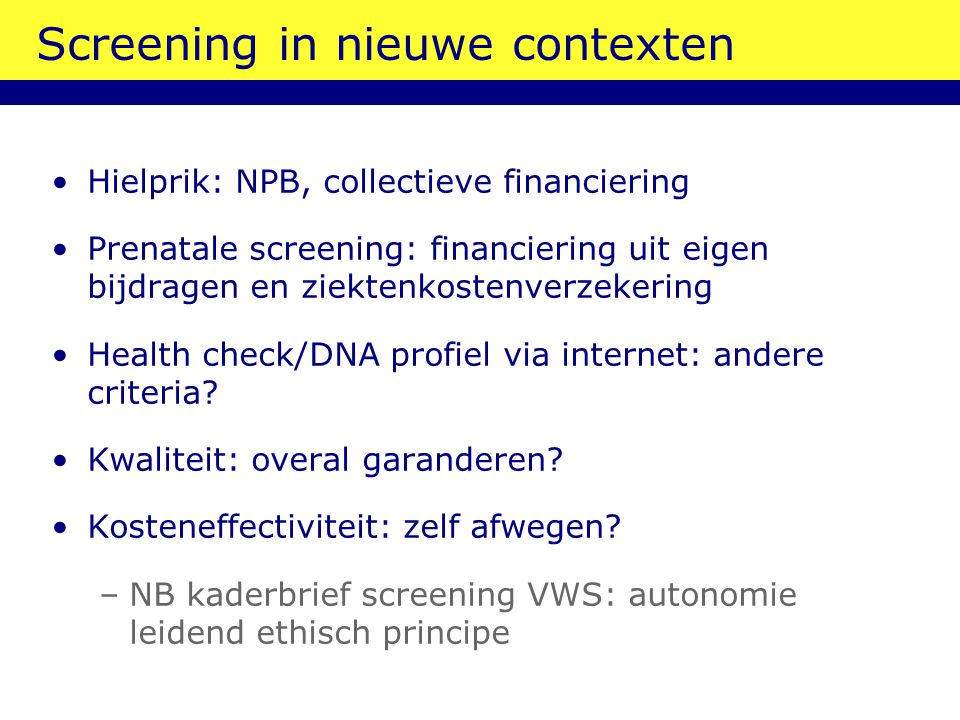 Screening in nieuwe contexten