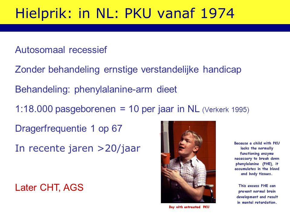Hielprik: in NL: PKU vanaf 1974