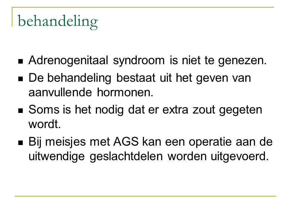 behandeling Adrenogenitaal syndroom is niet te genezen.