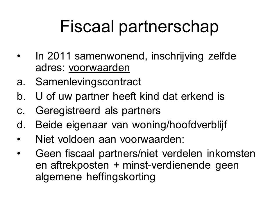 Fiscaal partnerschap In 2011 samenwonend, inschrijving zelfde adres: voorwaarden. Samenlevingscontract.