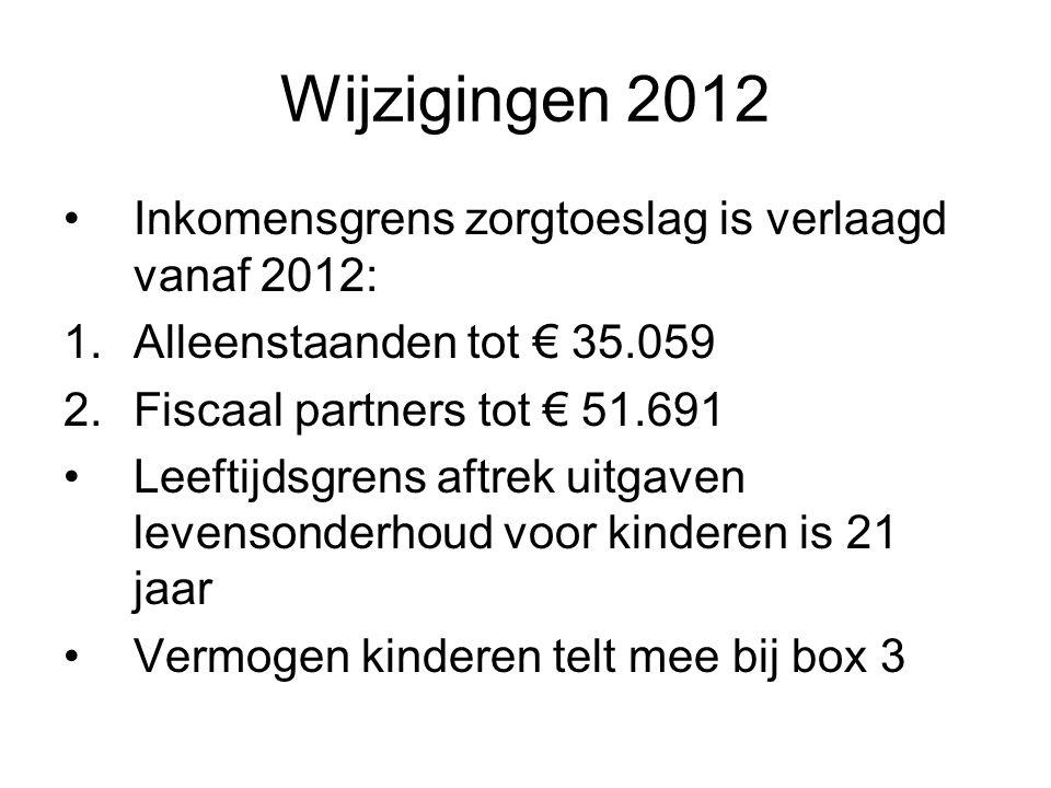 Wijzigingen 2012 Inkomensgrens zorgtoeslag is verlaagd vanaf 2012: