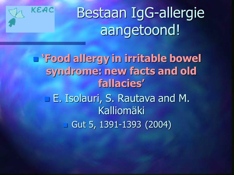 Bestaan IgG-allergie aangetoond!