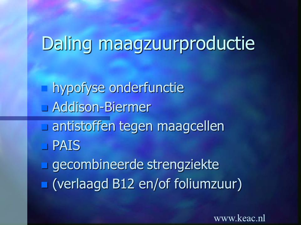Daling maagzuurproductie