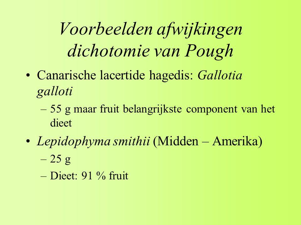 Voorbeelden afwijkingen dichotomie van Pough