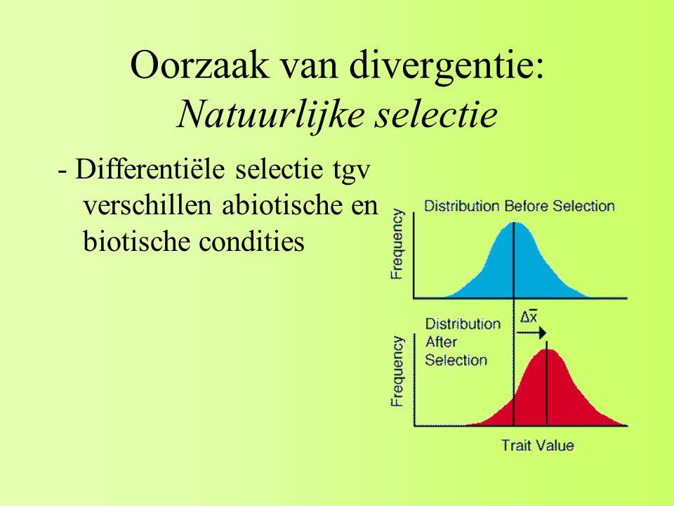 Oorzaak van divergentie: Natuurlijke selectie