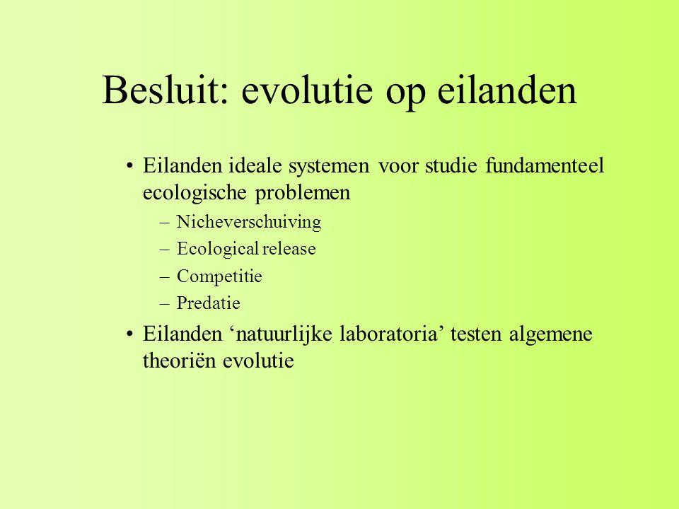 Besluit: evolutie op eilanden