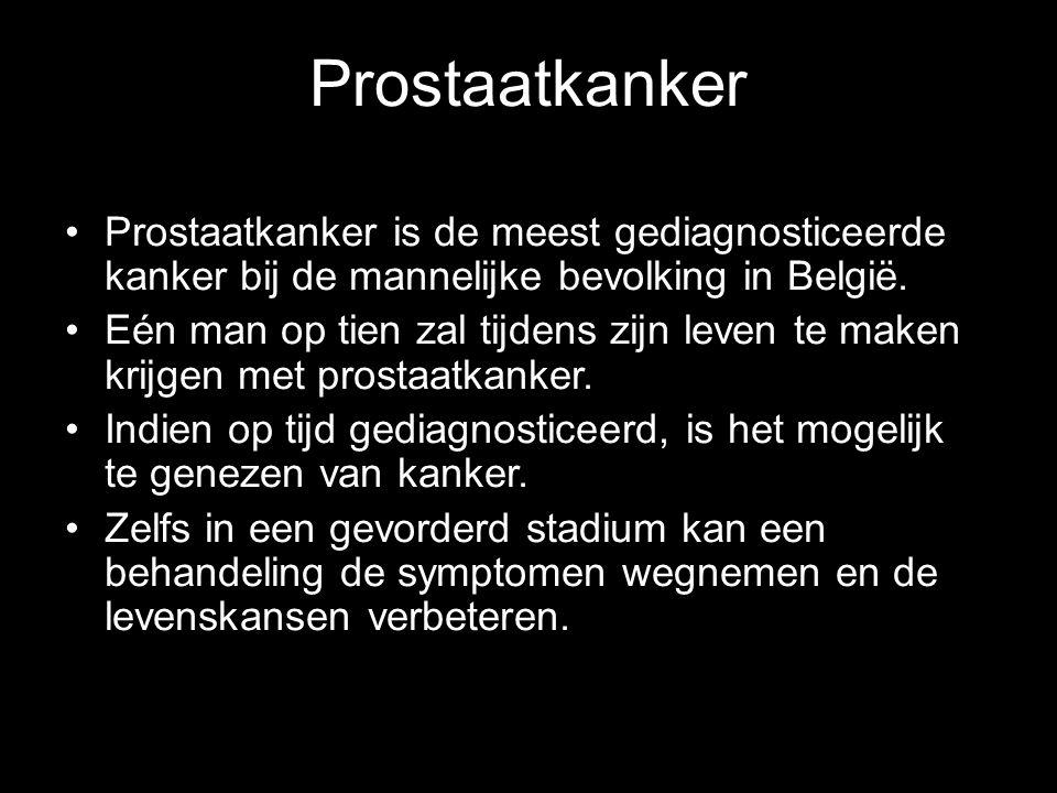 Prostaatkanker Prostaatkanker is de meest gediagnosticeerde kanker bij de mannelijke bevolking in België.
