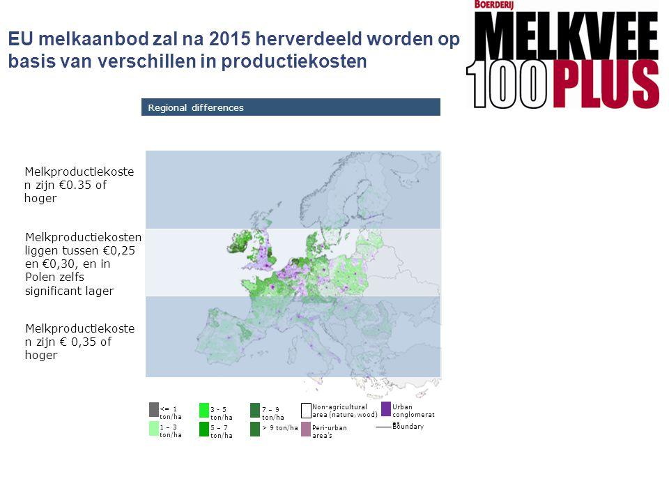EU melkaanbod zal na 2015 herverdeeld worden op basis van verschillen in productiekosten