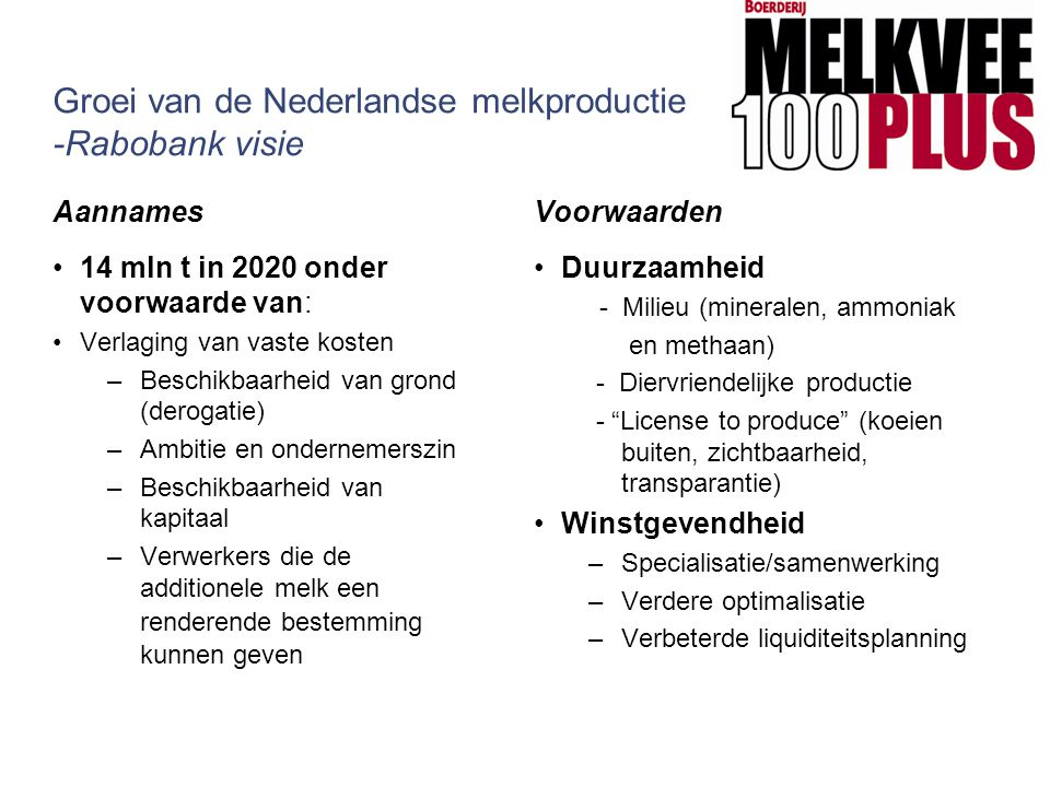 Groei van de Nederlandse melkproductie -Rabobank visie
