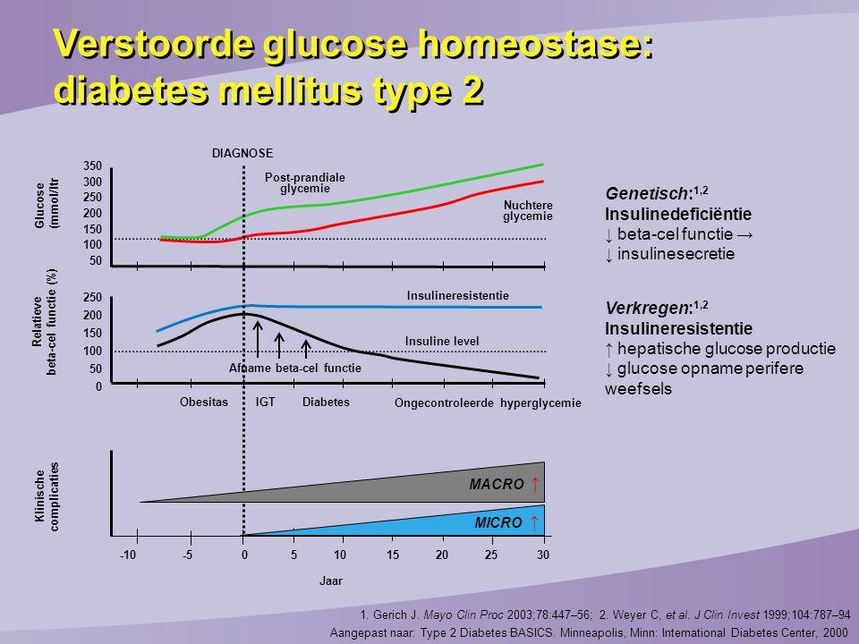 Afname beta-cel functie Ongecontroleerde hyperglycemie