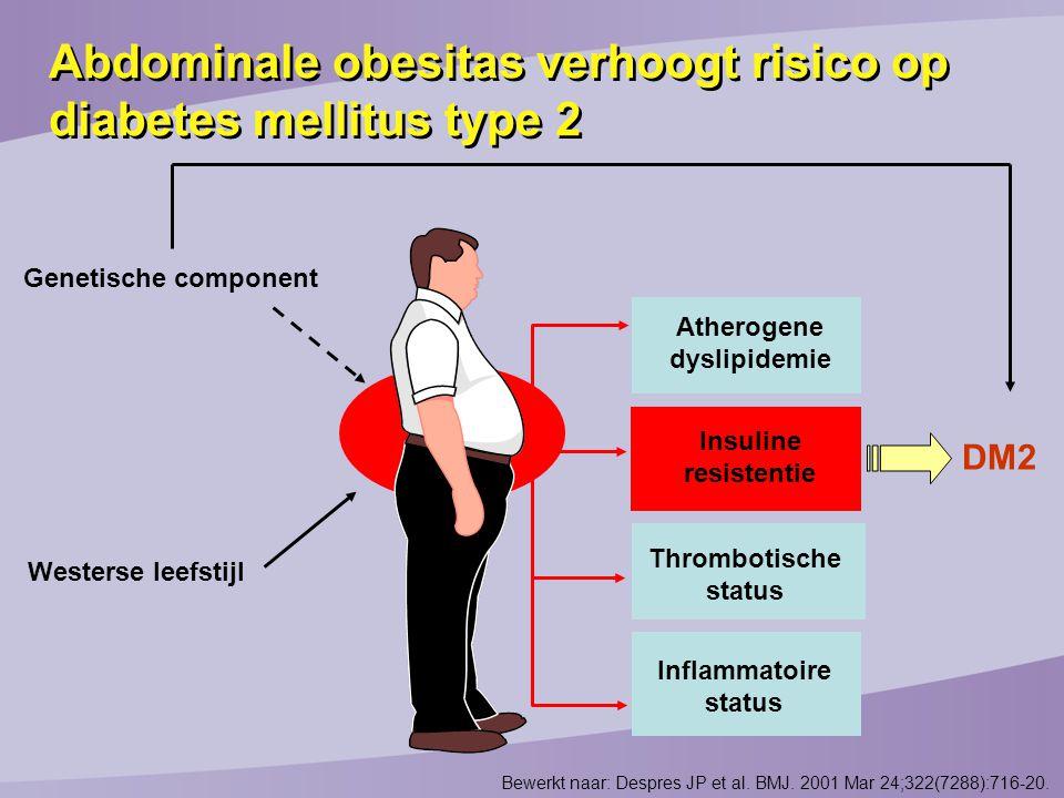 Abdominale obesitas verhoogt risico op diabetes mellitus type 2