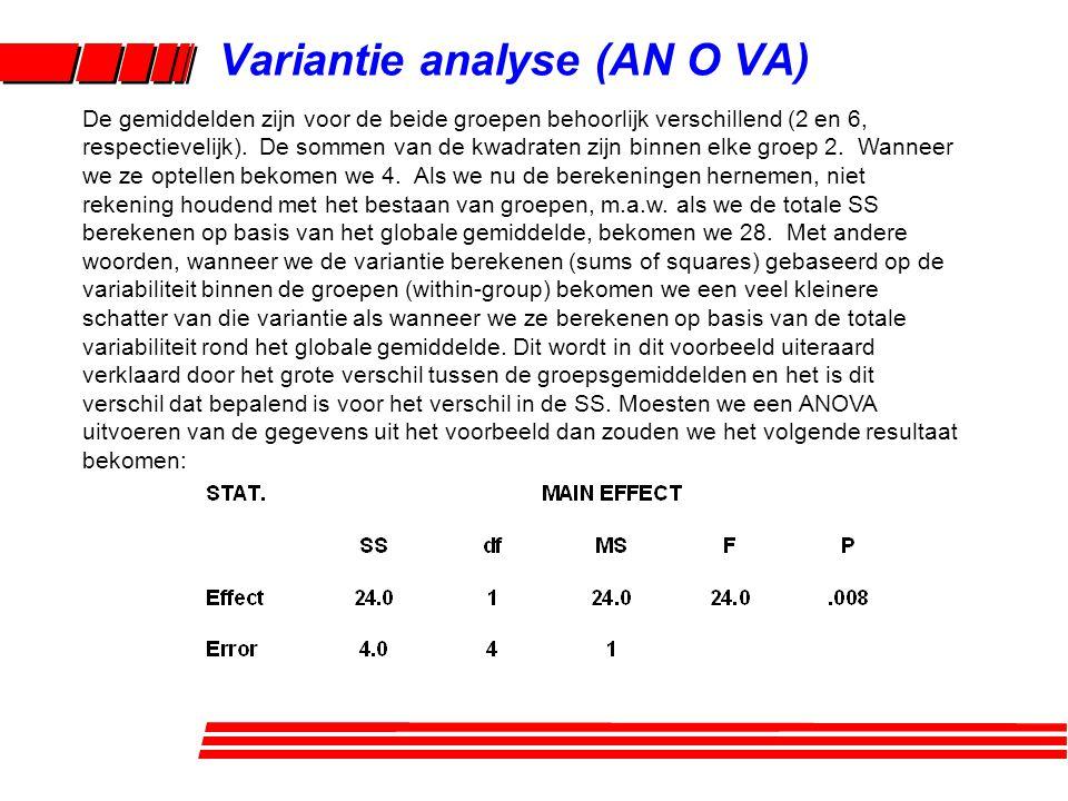 Variantie analyse (AN O VA)