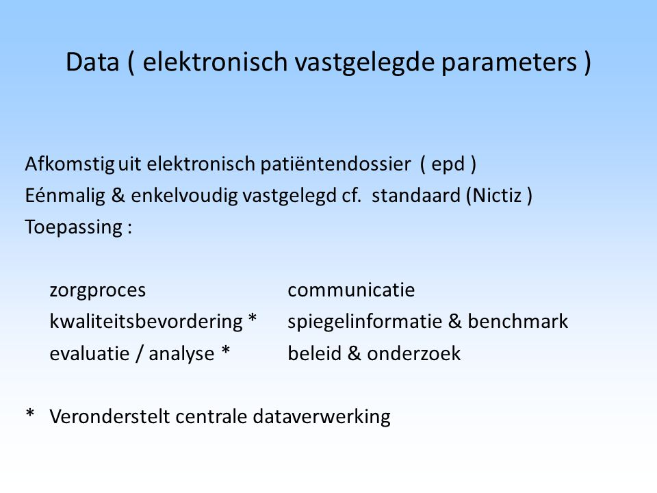 Data ( elektronisch vastgelegde parameters )