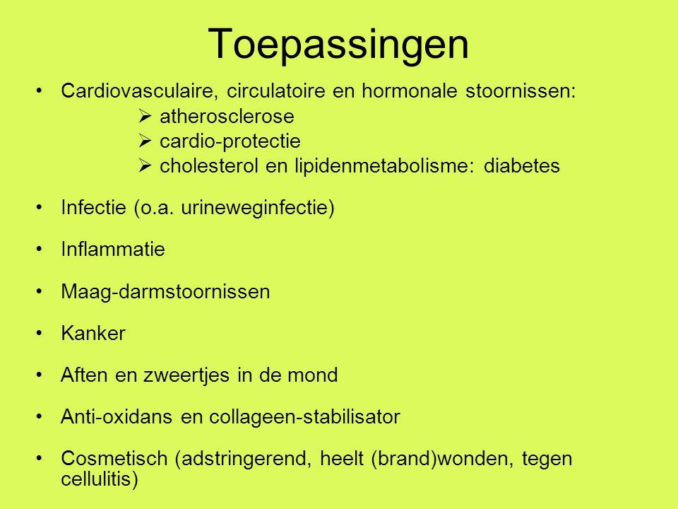 Toepassingen Cardiovasculaire, circulatoire en hormonale stoornissen: