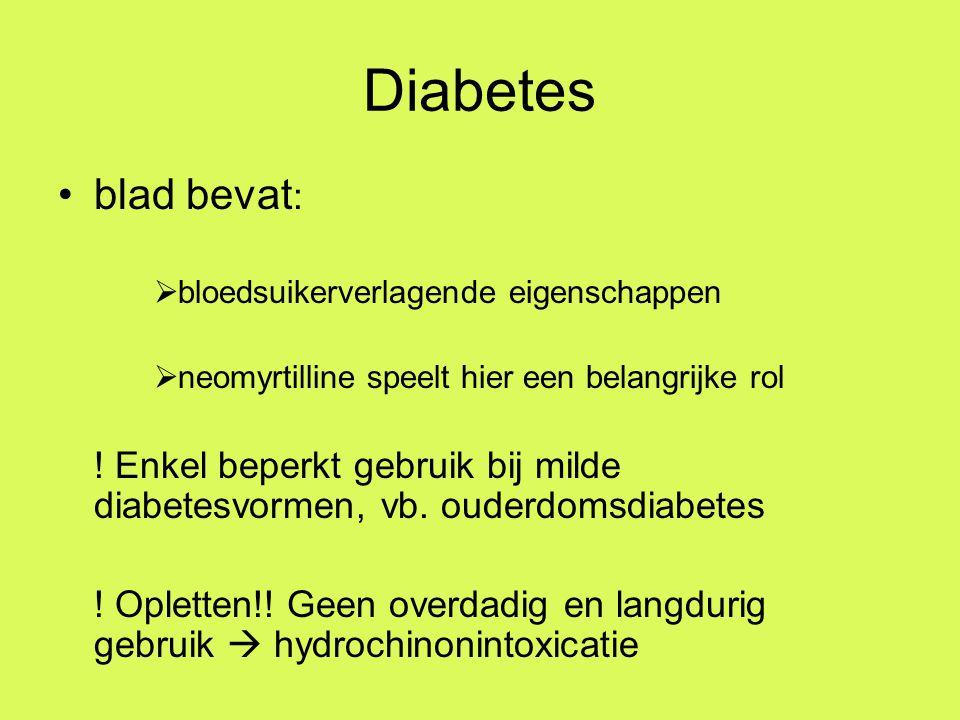 Diabetes blad bevat: bloedsuikerverlagende eigenschappen. neomyrtilline speelt hier een belangrijke rol.