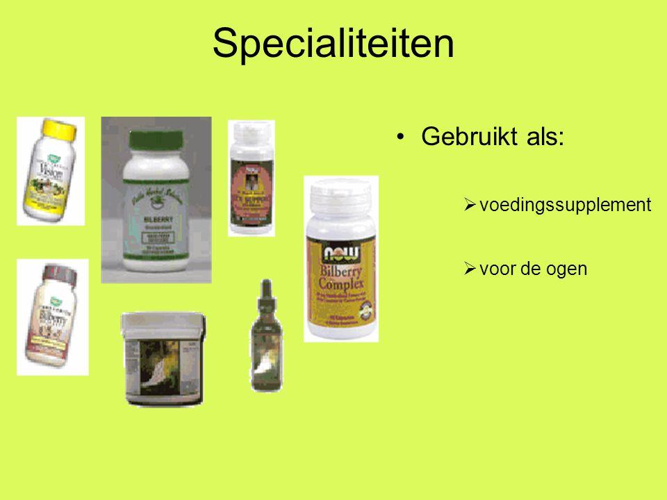 Specialiteiten Gebruikt als: voedingssupplement voor de ogen